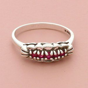 sterling silver vintage pink ruby ring